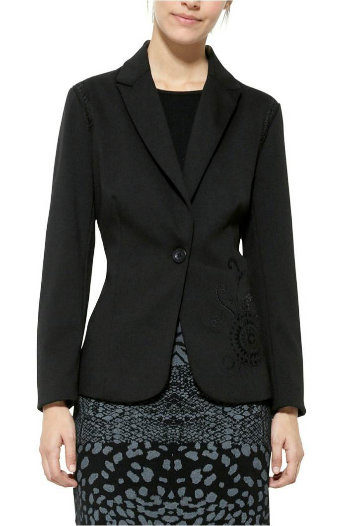 kabát Desigual Mari negro velikost: 44