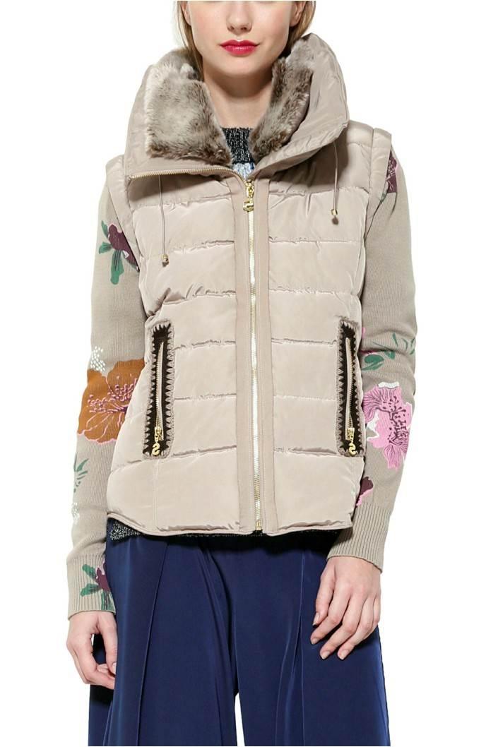 kabát Desigual Salva beig fresh velikost: 44