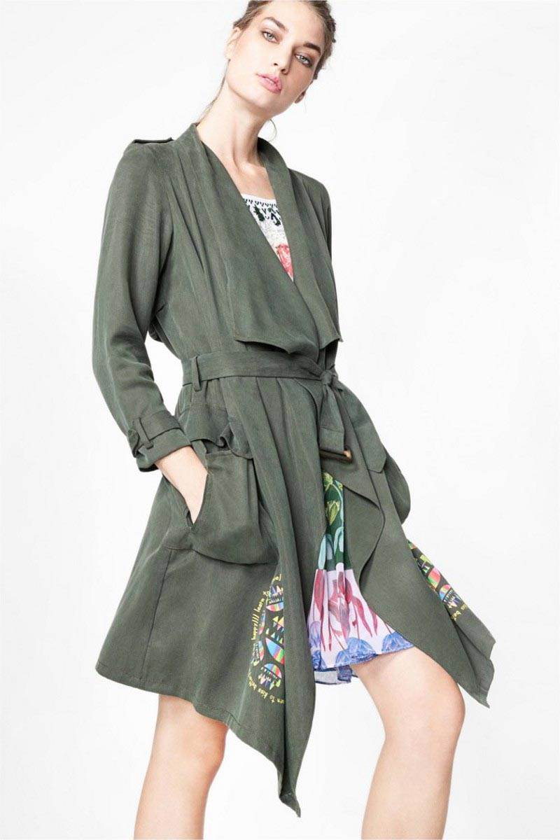 kabát Desigual Cheryl verde botella velikost: 44