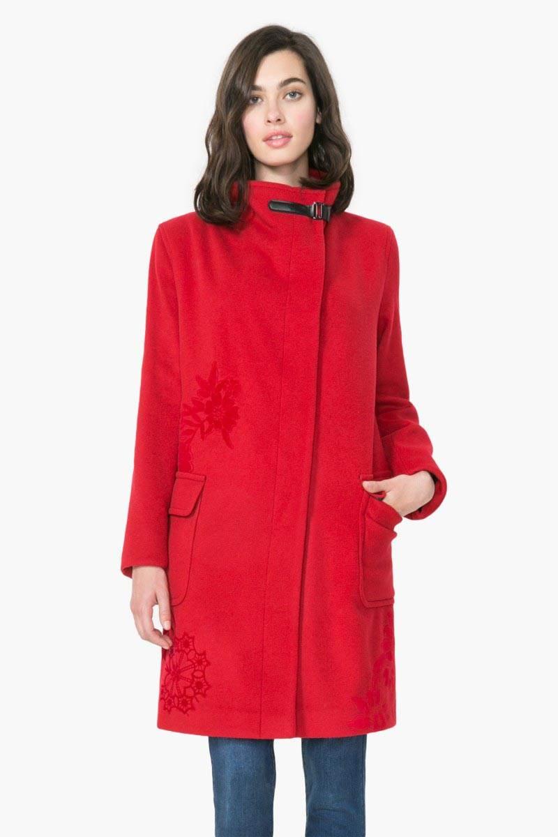 kabát Desigual Natalia rojo fuerte velikost: 44