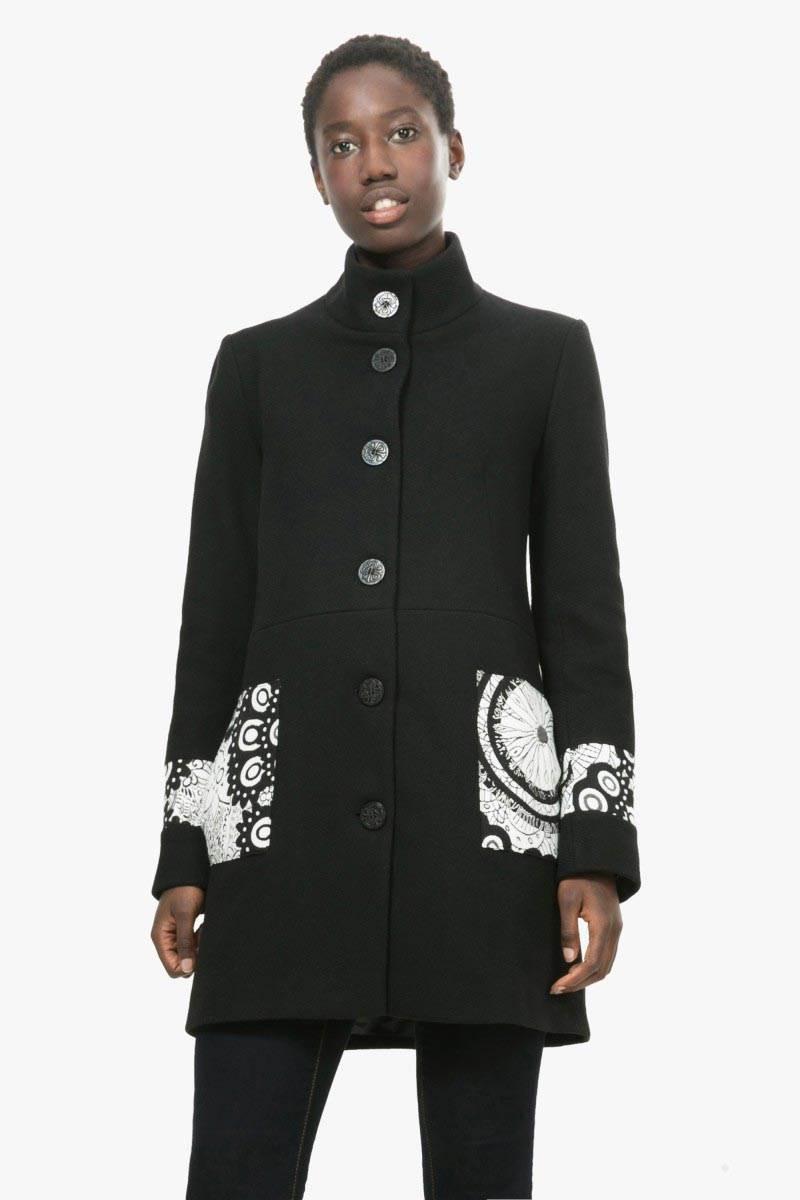 kabát Desigual Malta negro velikost: 44