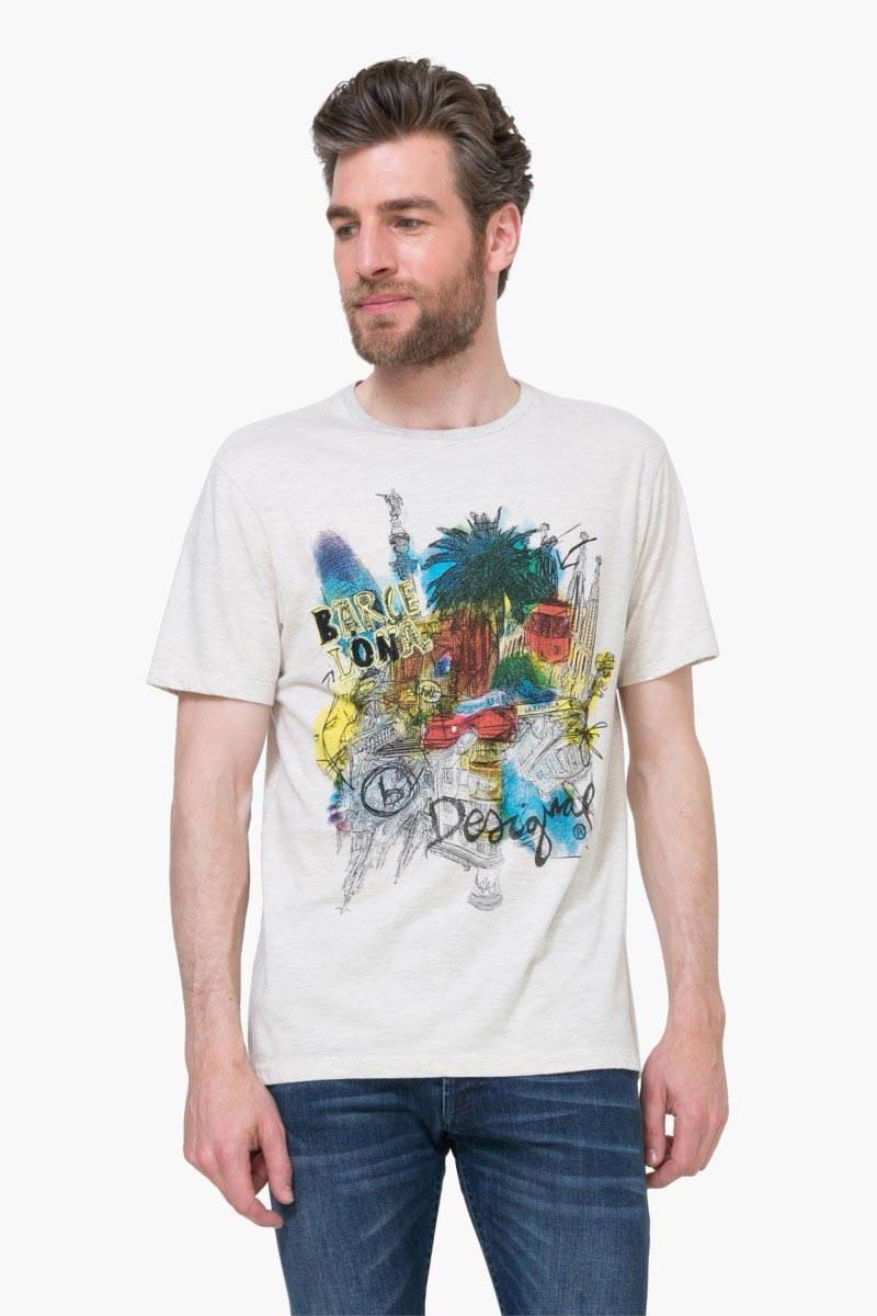 tričko Desigual Sensation Rep beig fresh velikost: XL