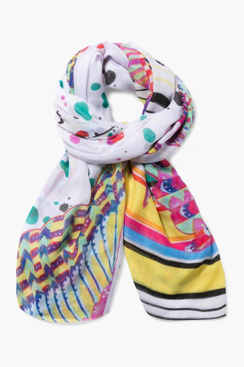 šátek Desigual Rectangle Splatt blanco velikost: U