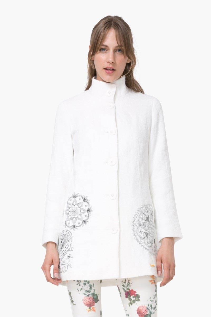 kabát Desigual Abrig Eva blanco velikost: 44
