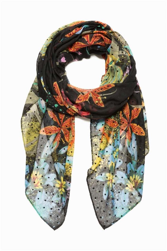 6c84184b606 šátek Desigual Tiger Flower negro