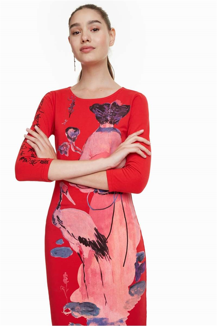 šaty Desigual Sonora borgona