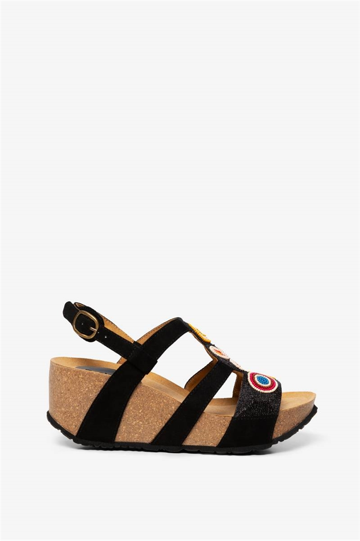 sandály Desigual Odisea Flower Bead negro