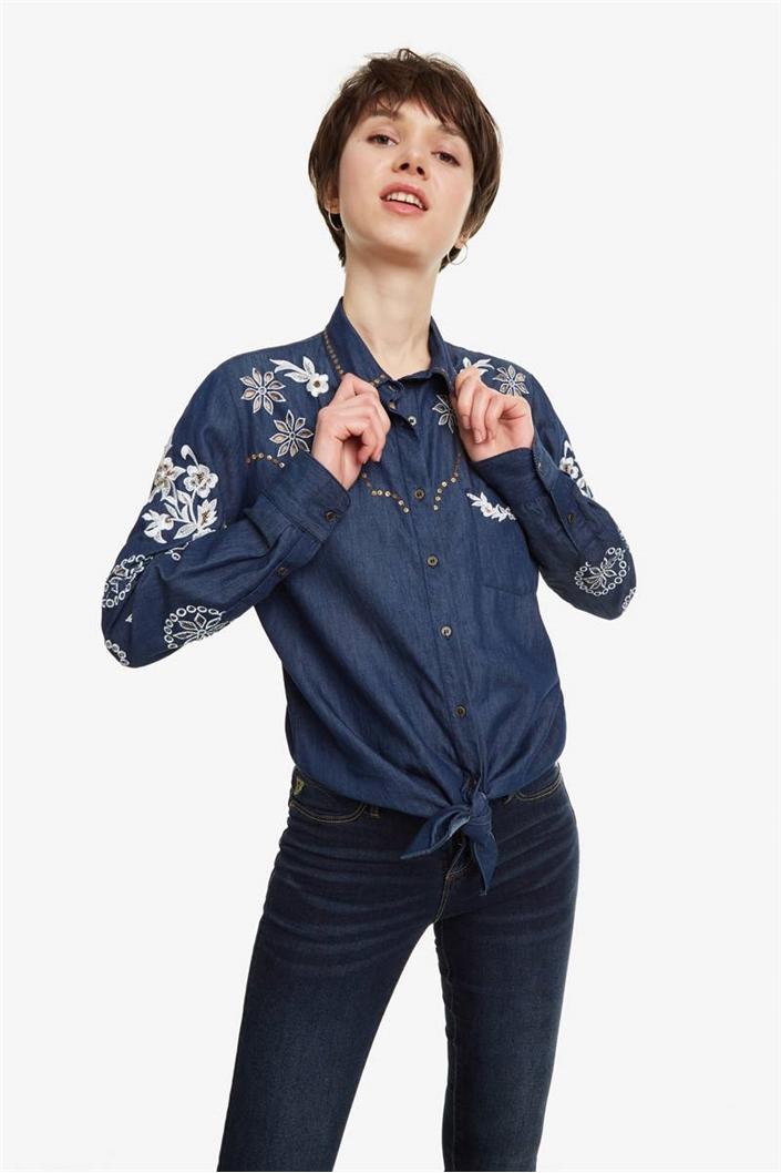 košile Desigual Dresde denim medium dark  6c2a7d57b3