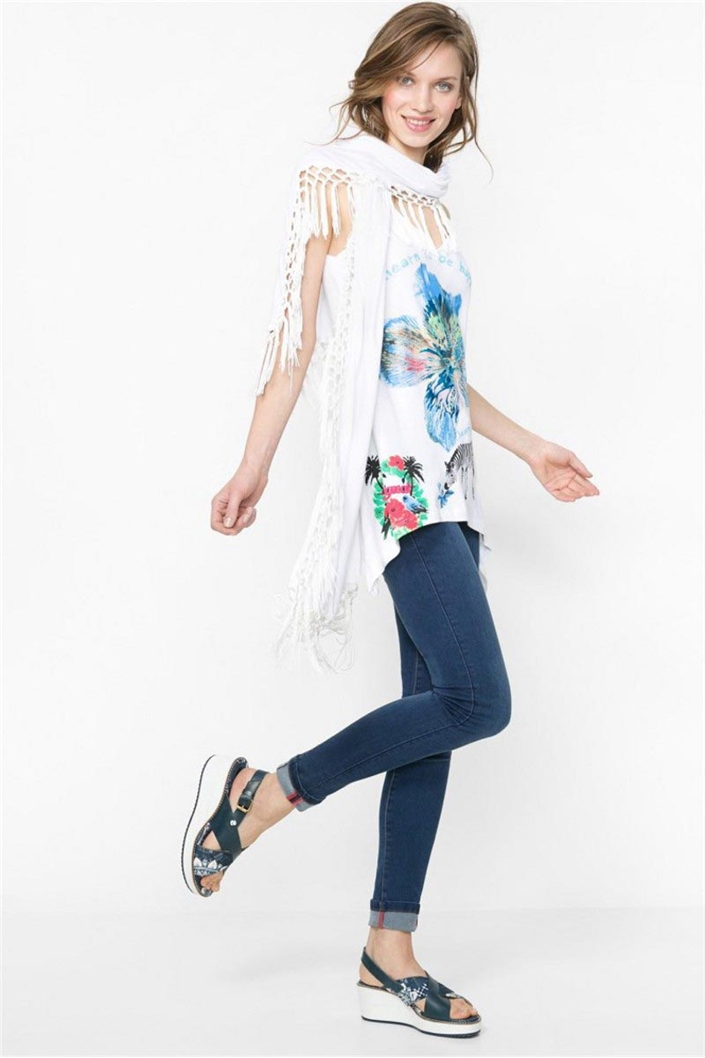tričko Desigual Ellodi blanco velikost  S  32630eb7b55