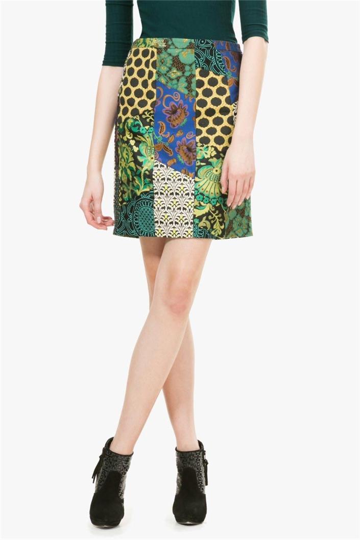 sukně Desigual Alma antique green  8de337a9750