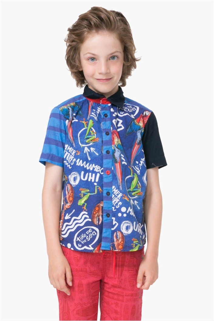 Košile Desigual Cam Olas azul klein