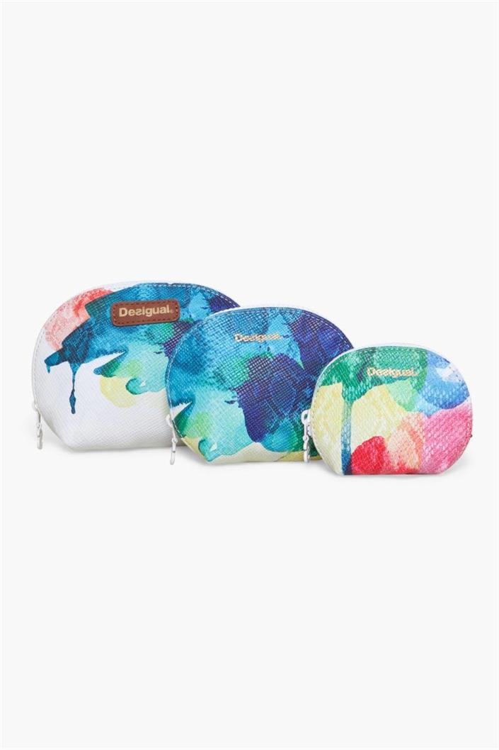 kosmetická taška Desigual Pouch Trio Aquarelle blanco