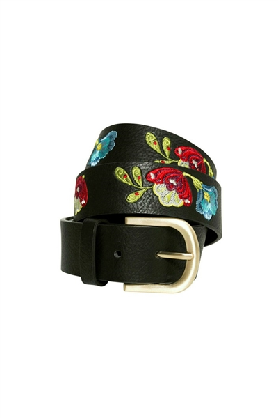 pásek Desigual Embroidered Belt Car negro