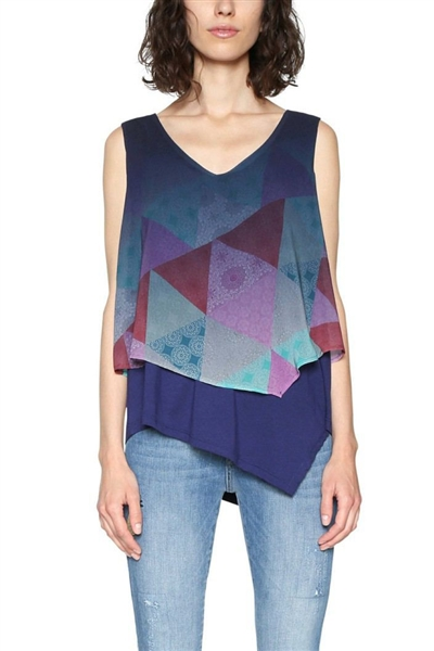 tílko Desigual Blus Club De Blues navy