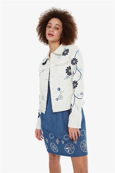 bunda Desigual Blue Flower lime cream