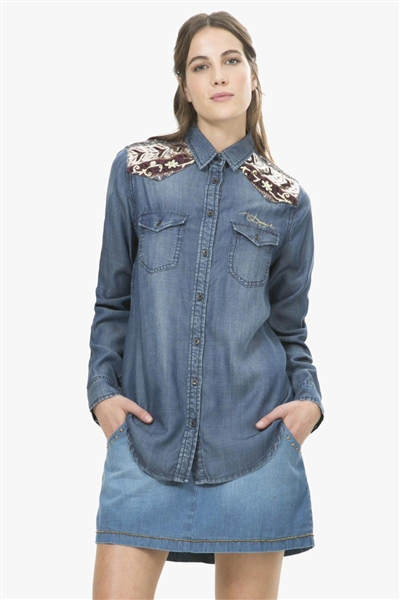 košile Desigual Marti denim dark blue
