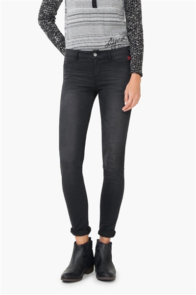 jeansy Desigual Denim Dark Wash negro