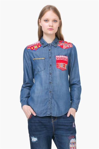 košile Desigual Exotic denim medium wash