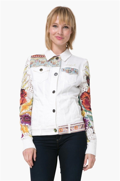 bunda Desigual Chaq Exotic White denim nature