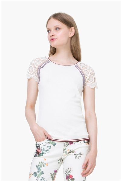 svetr Desigual Jers Lace Sleeve T-Shir blanco